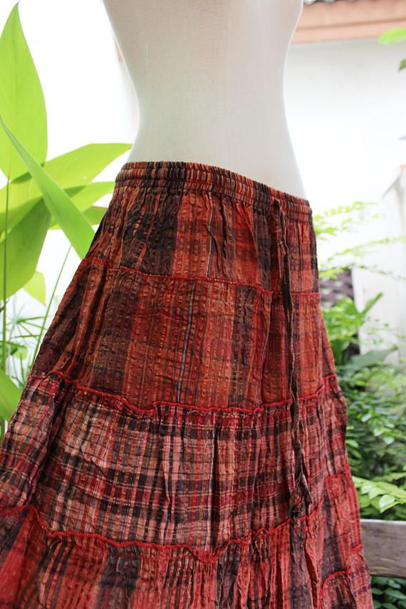 9776e47b9 Woven Dyed Cotton Long Tiered Skirt - BR1708-05 | Clothing | Skirts ...
