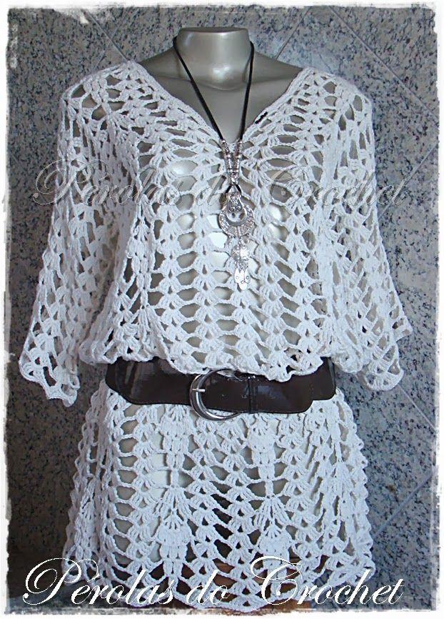 Túnica em crochet modelo Arezzo manga curta   Crochet irresistíble ...
