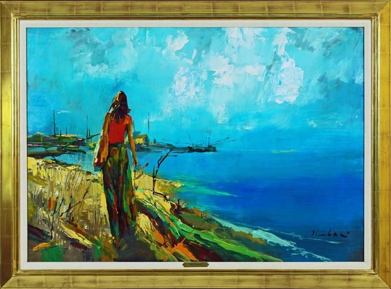 "Nicola Simbari, Italian B. 1935, ""Beachwalk"", Acrylic on Canvas/Board, Signed"