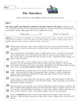 An End Of The Unit Project For SE HintonS Novel The Outsiders