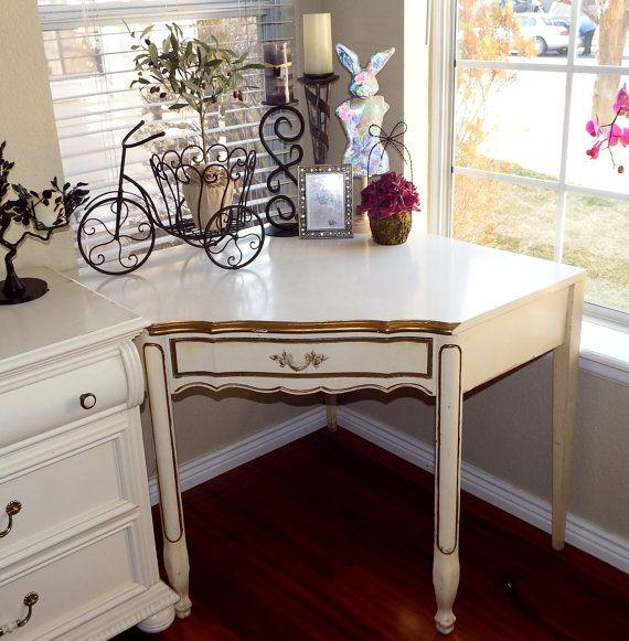 Vintage French Provincial Rare Corner Desk, Cream And Gold - Vintage Corner Desk Woodworking Plans