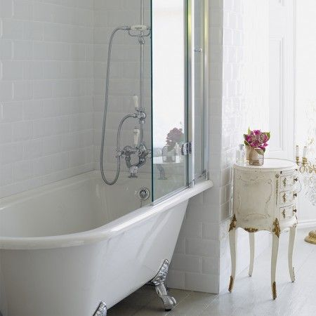 Bathroom Burlington Ideas burlington hampton shower bath 150 x 75cm rh freestanding - white