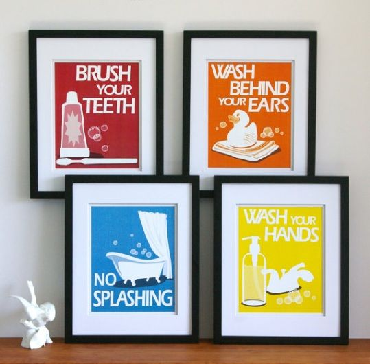 Wall Art For Bathrooms love these colorful frames. a simple way of adding some artistic