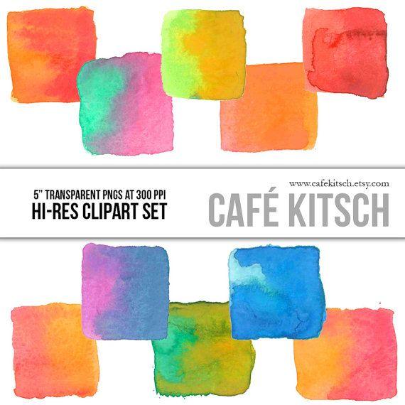 Instant Download Watercolor Squares Clip Art Set Hi Res