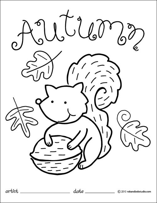 autumn leaves and a squirrel coloring pages for kids printable autumn and fall coloring pages for kids
