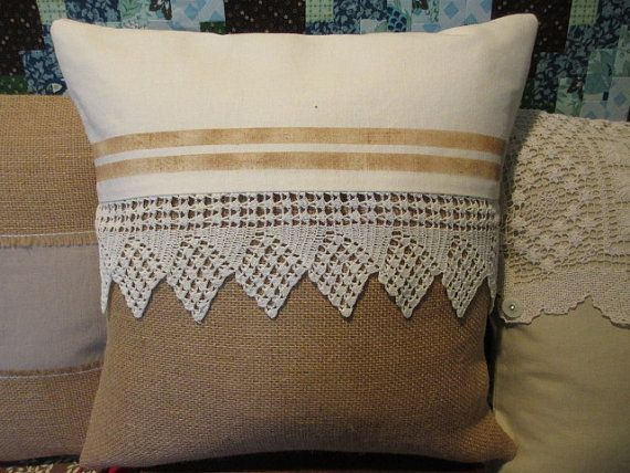 decorative burlap pillow cover with vintage by FromOldStuff, $26.00