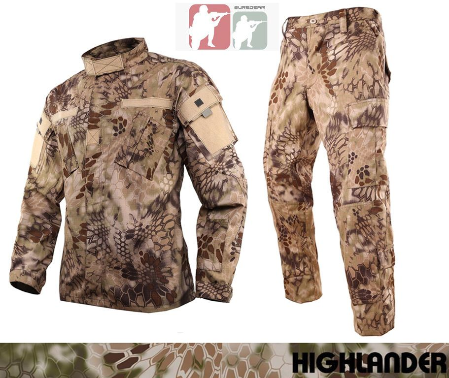 HIGHLANDER Military BDU Uniform Set Shirt Pants Kryptek Tactical Hunting Airsoft