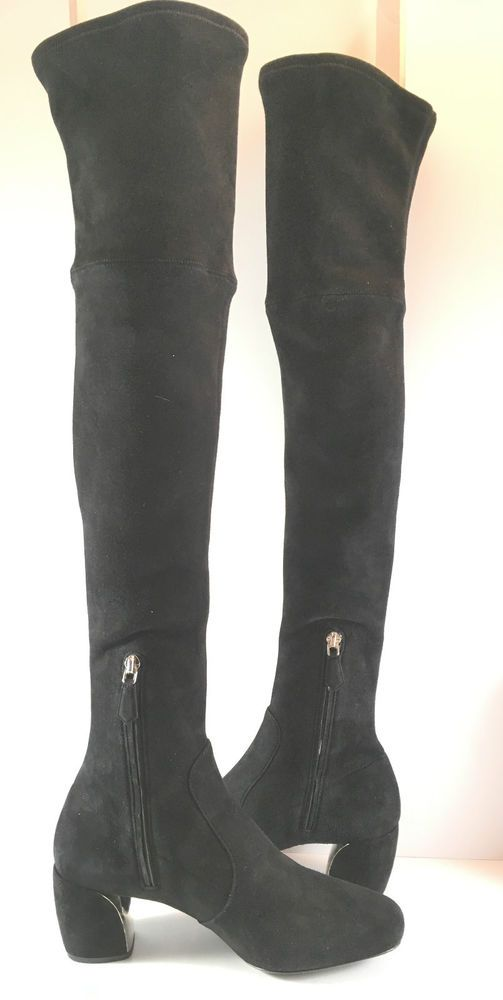 bb4205491b6 Prada Black Suede Over the Knee Boot Metal Heel Womens Size EUR 37.5M MSRP   1450