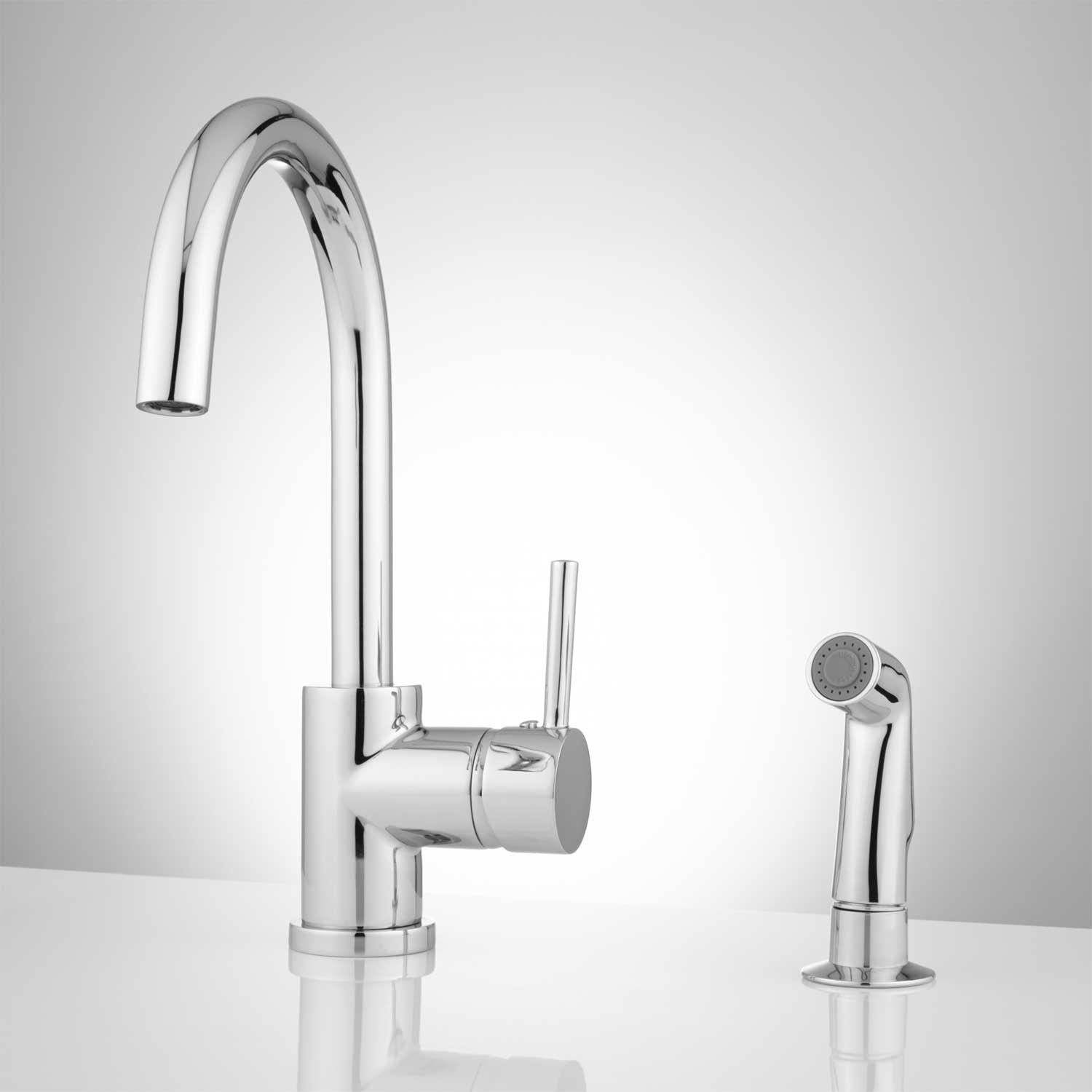 Lora Gooseneck Single Handle Kitchen Faucet with Side Spray | Faucet ...