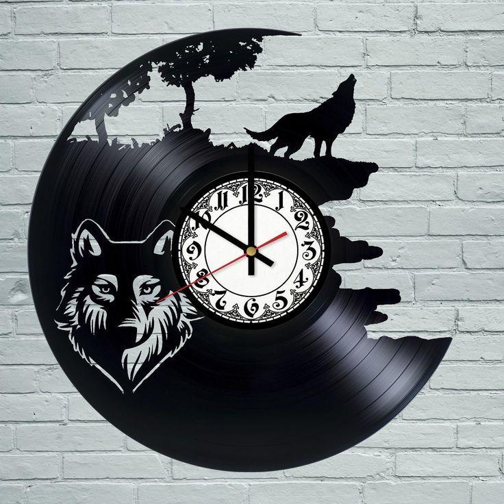 Wolf Tiger Animal Vintage Retro Men Black Vinyl Record Wall Clock