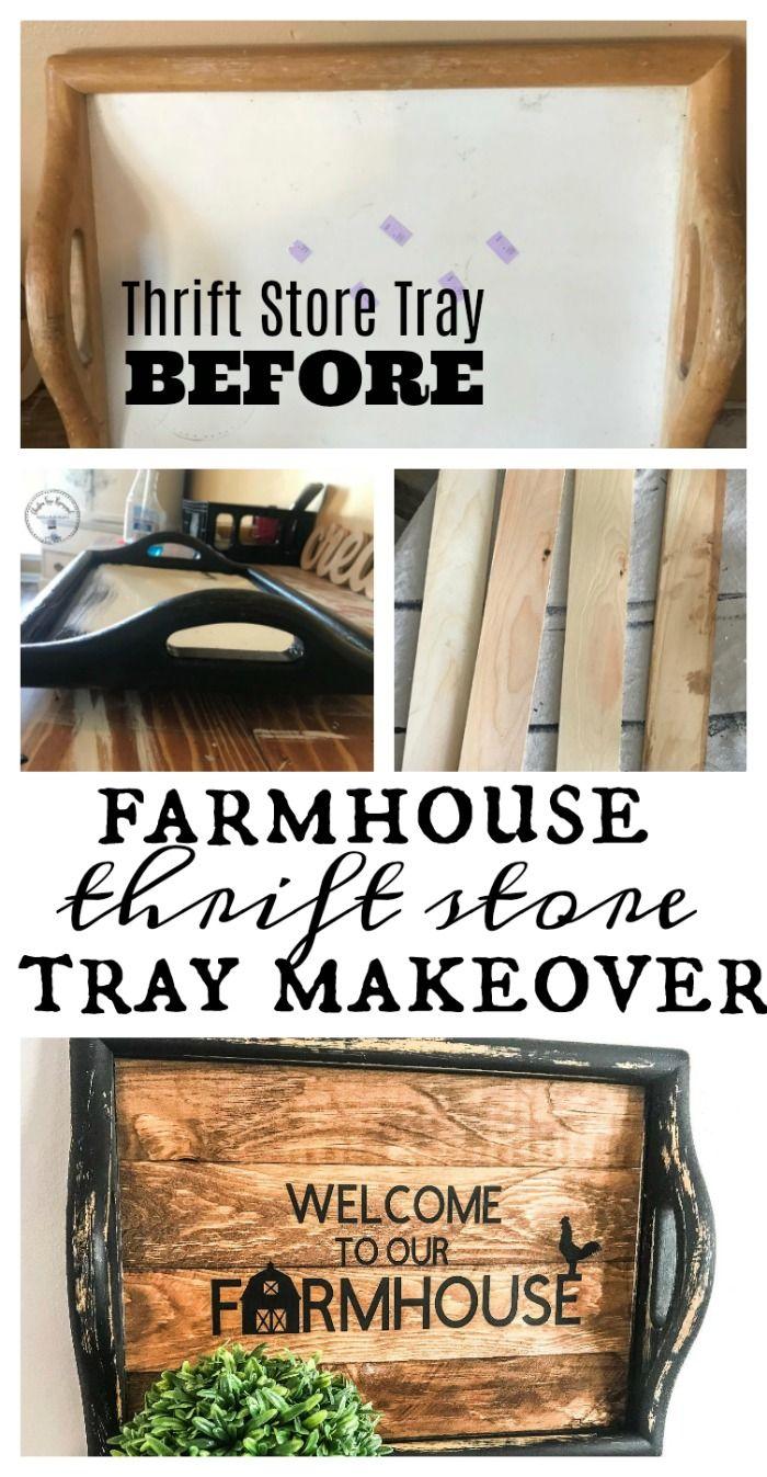 Farmhouse Thrift Store Tray Makeover