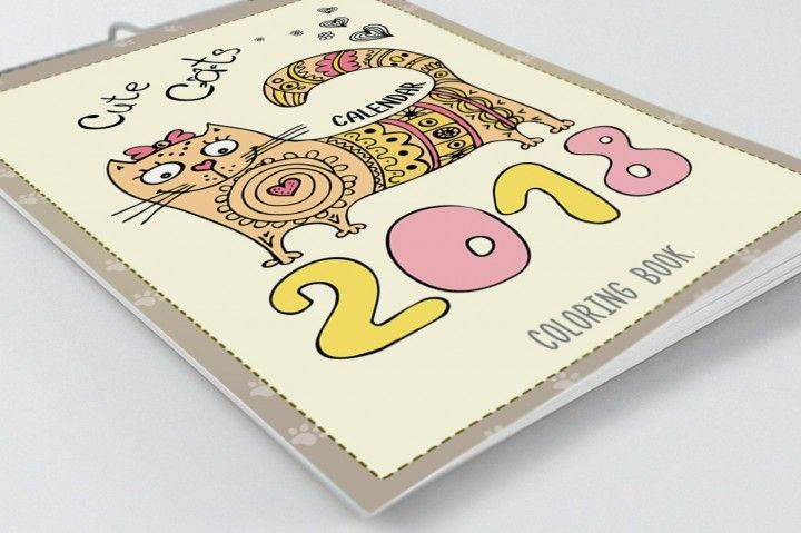 Cute Cats Coloring Book Calendar 2018