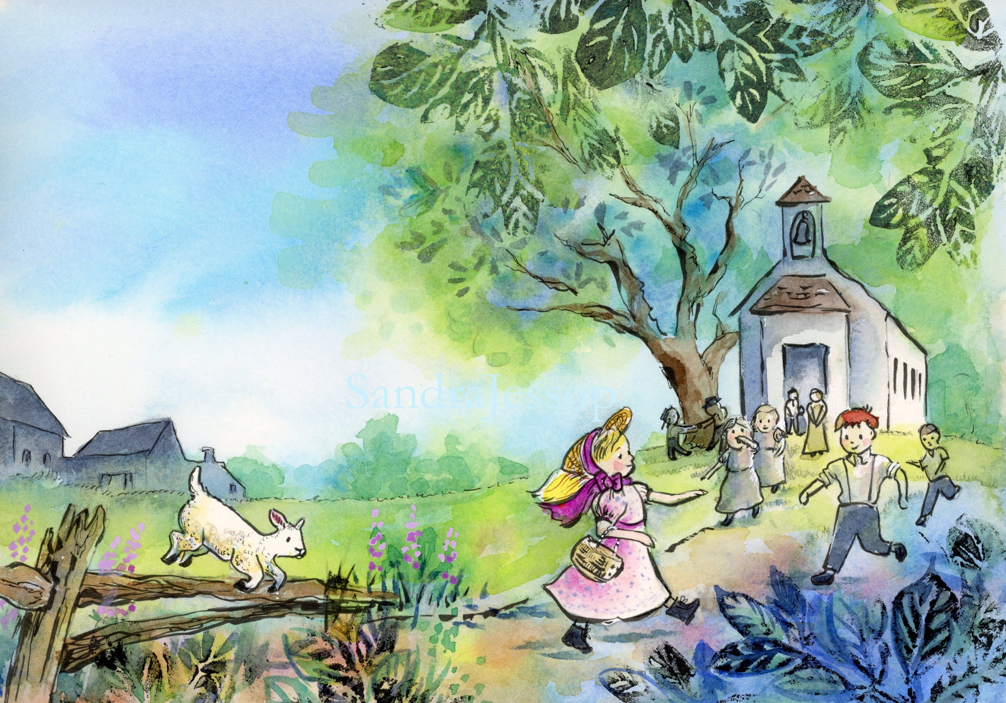 Mary Had A Little Lamb Children Book Illustration Watercolor Childrens Books Illustrations Picture Books Illustration