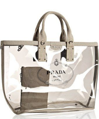 cc2fb53769fd Prada smoke pvc and linen logo large tote | love this for a beach ...