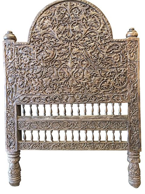 Antique Headboard Intricate Jaipur Floral Carved Wood Bed Frame