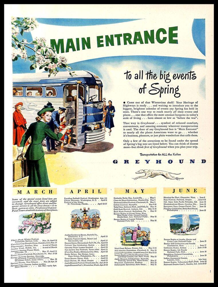1948 Greyhound Bus Transportation Vintage Print Ad Spring Vacation