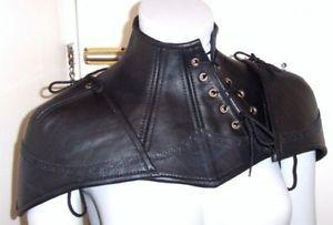 9da719f14c2 Anti-Vampire-Neck-Corset-Armor-Leather-Double-Pauldron-Steampunk-Black-S-M-L