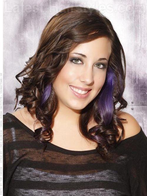 Purple Highlights On Dark Hair | Similar Design: Curly Hair With ...