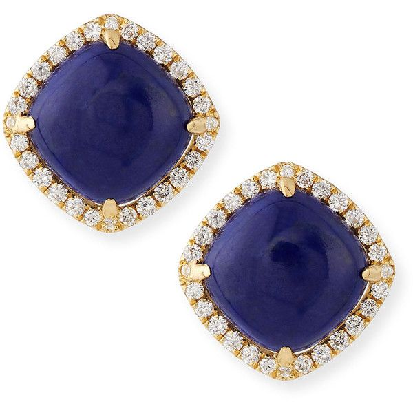 Frederic Sage 18K Gold Lapis & Diamond Stud Earrings BF2nZx