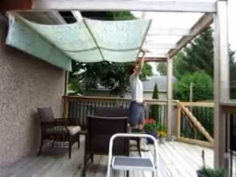 DIY Retractable Pergola Canopy Awning - YouTube ...
