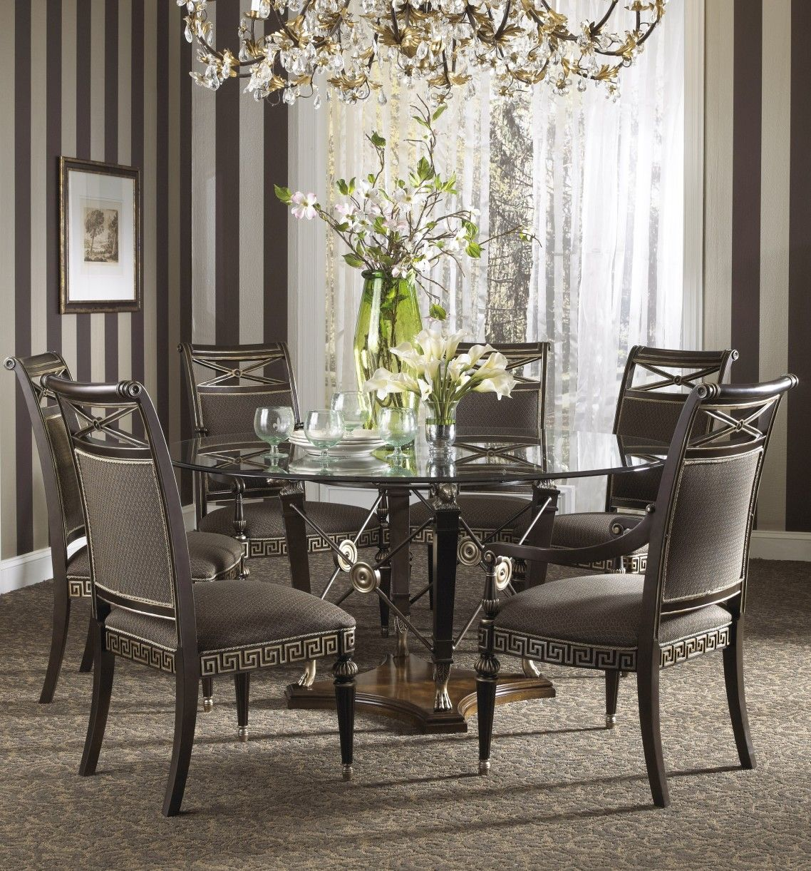 Awesome Luxury Gray Wrought Iron Dining Table Base Mixed Round Glass Counter Top Formal Dining Room Sets Glass Dining Room Table Round Dining Room