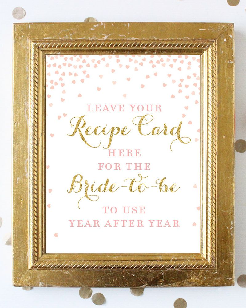 Excited to share the latest addition to my #etsy shop: Leave Your Recipe Card Here for the Bride Sign . 8x10 Printable . Pink and Gold . Bridal Shower Wedding Sign . Digital File Instant Download