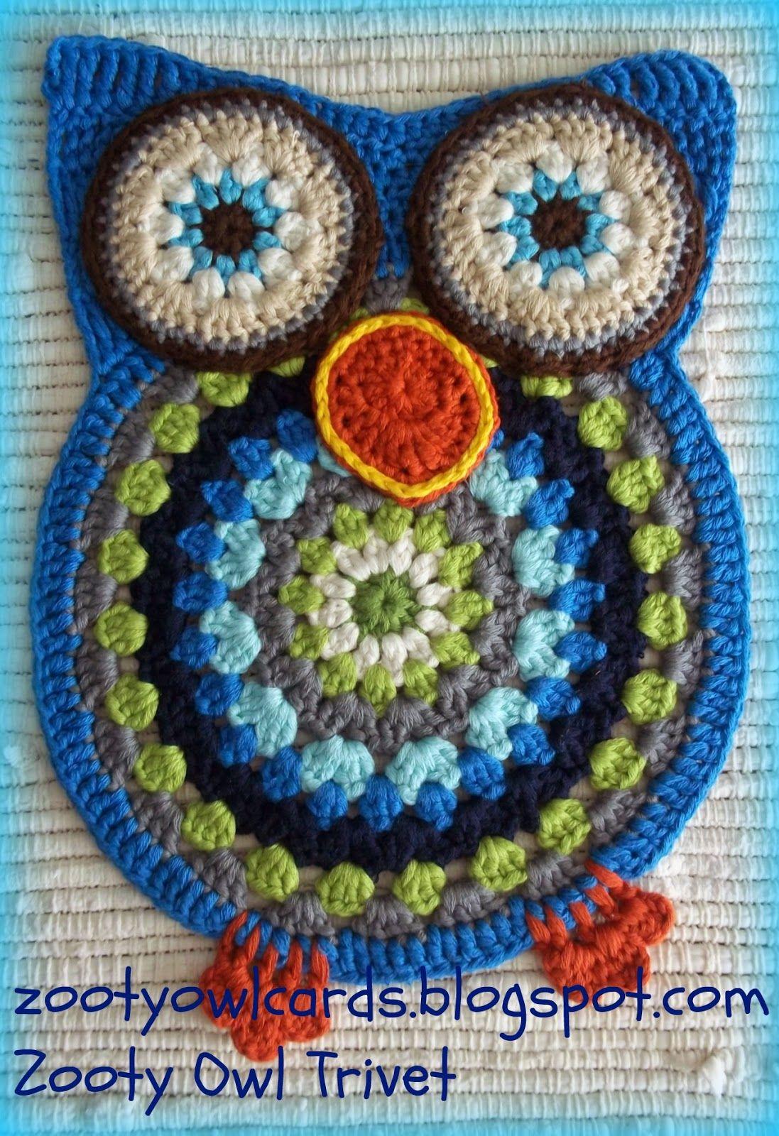 Zooty Owl Trivets Pattern Topflappen Pinterest Häkeln Eule