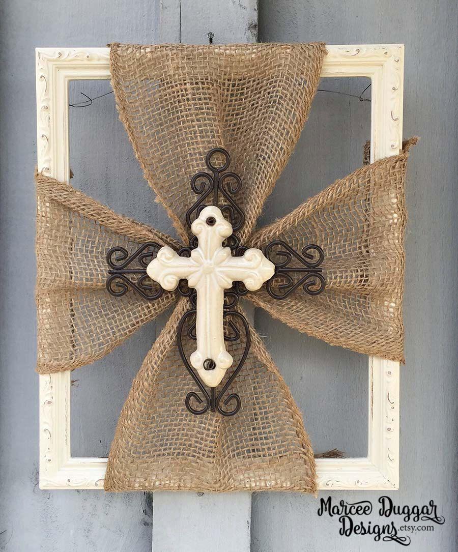 Burlap Home Decor: Ceramic Cross