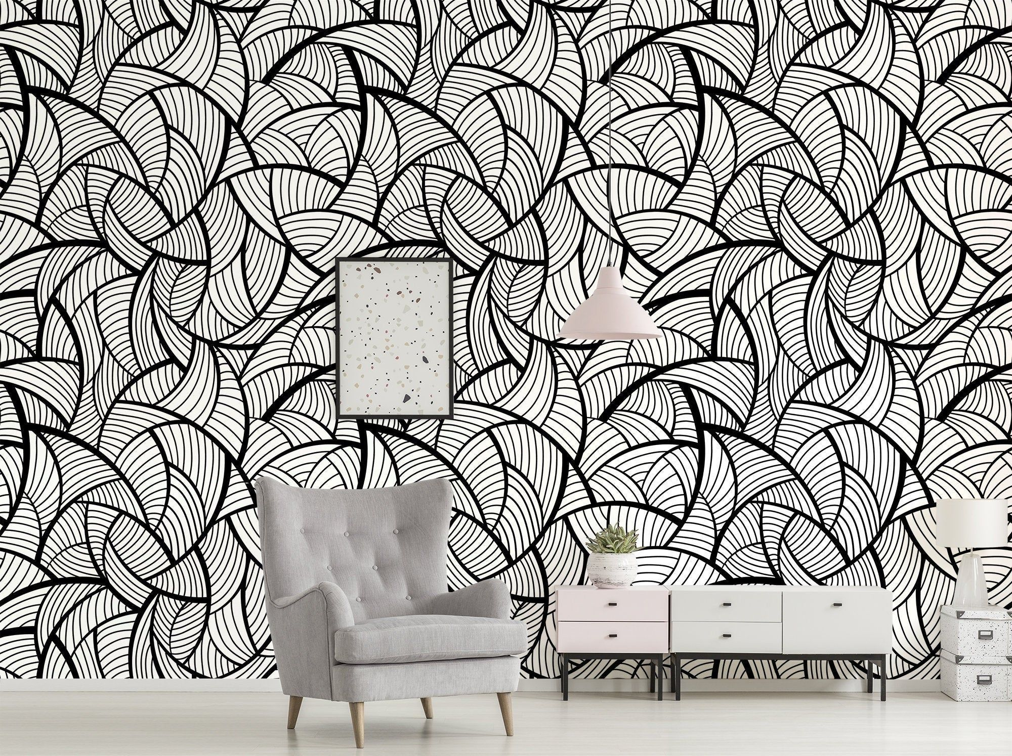 Abstract Wallpaper With Black And White Pattern Peel And Etsy Abstract Wallpaper Removable Wallpaper Home Decor