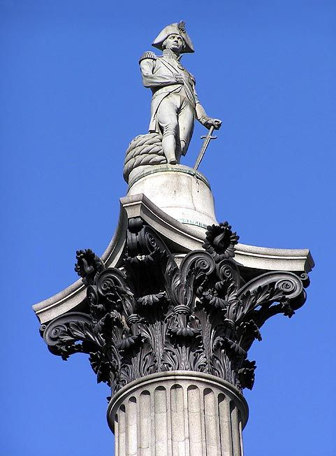 My Hero Swaggin Out On Top Of This Pole Thing Statue London Landmarks Nelson S Column