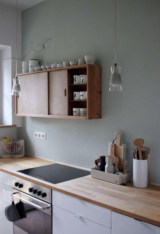 16 Landhausku Landhausku Landhauskuche In 2020 Wood Countertops Kitchen Kitchen Style Sage Green Walls