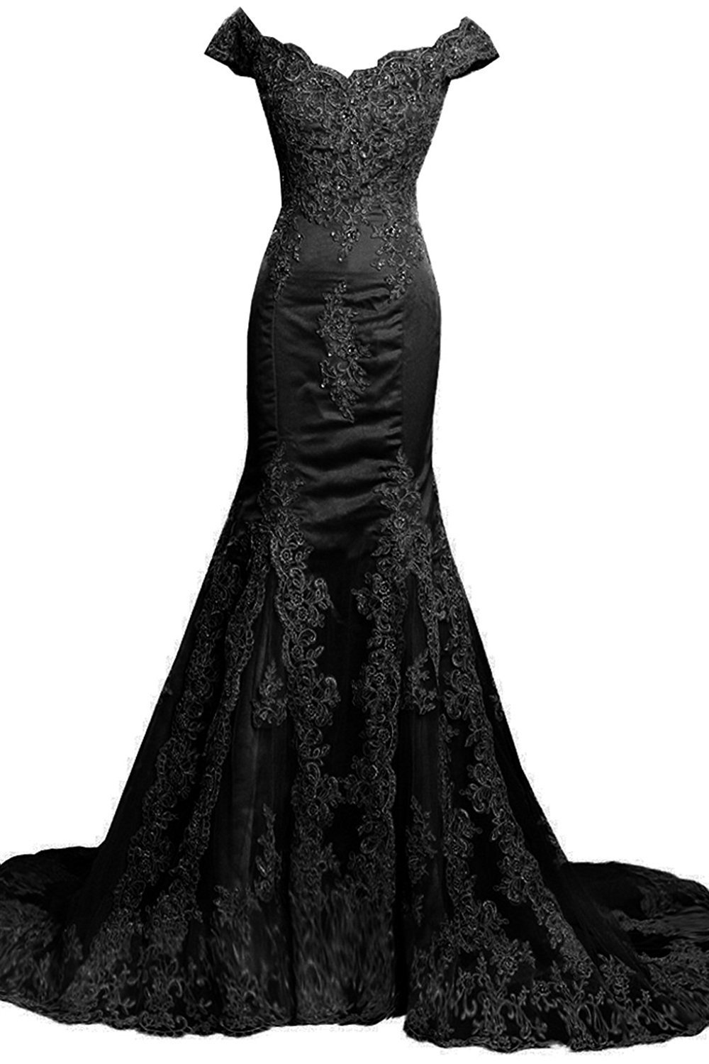 Trumpetmermaid prom dresses offtheshoulder appliques tulle sexy