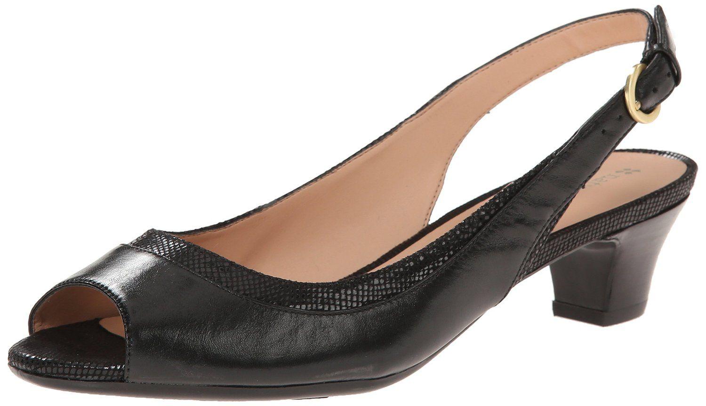 Leather Peep Toe Slingback Sandals, Wedges or Kitten Heel