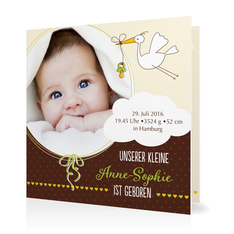 baby geburtskarte klapperstorch  goldbek  geburtskarten
