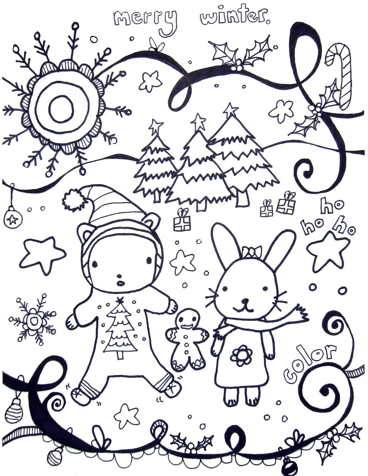 Marcia Beckett Printable Winter Coloring Pages