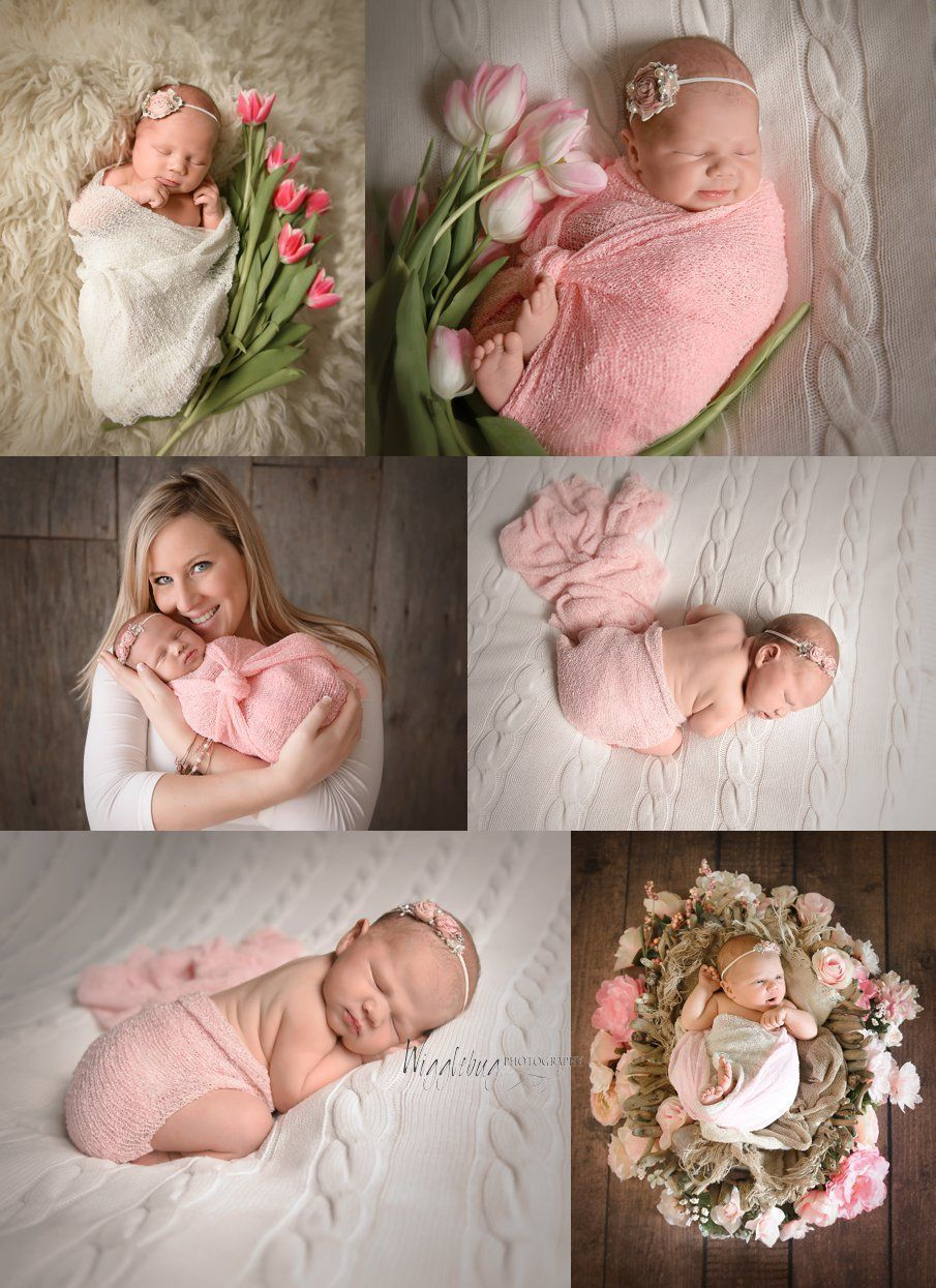 Newborn baby girl in soft pink with fresh tulips in dekalb il photography studio newbornphotography