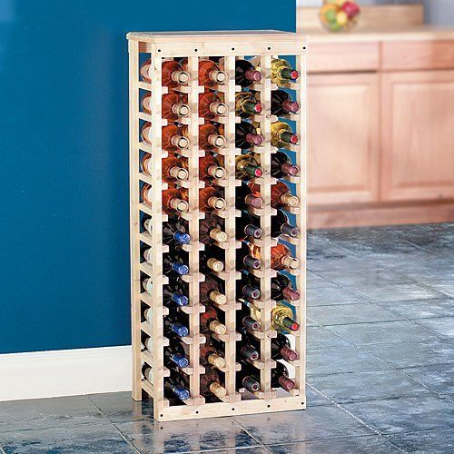 Wooden Wine Rack Holds 44 Bottles Unfinished Pine Unfinished Pine