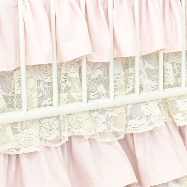 It's all in the details  Such a sweet lace ruffle in our Bailey's Blossoms Crib Bedding by #cadenlane. : : : : #peachstream #cribbedding #crib #nurseryinspo #nursery #babysroom #baby #lace #ruffles #pastel #pink #frilly #fancy #lacey #baileysblossoms #itsallinthedetails #kidsdecor