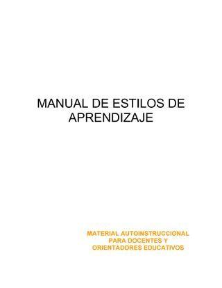 Manual para la Evaluación de Estilos de Aprendizaje  Centro Universitario de Zacapa Programa de Formación Docente