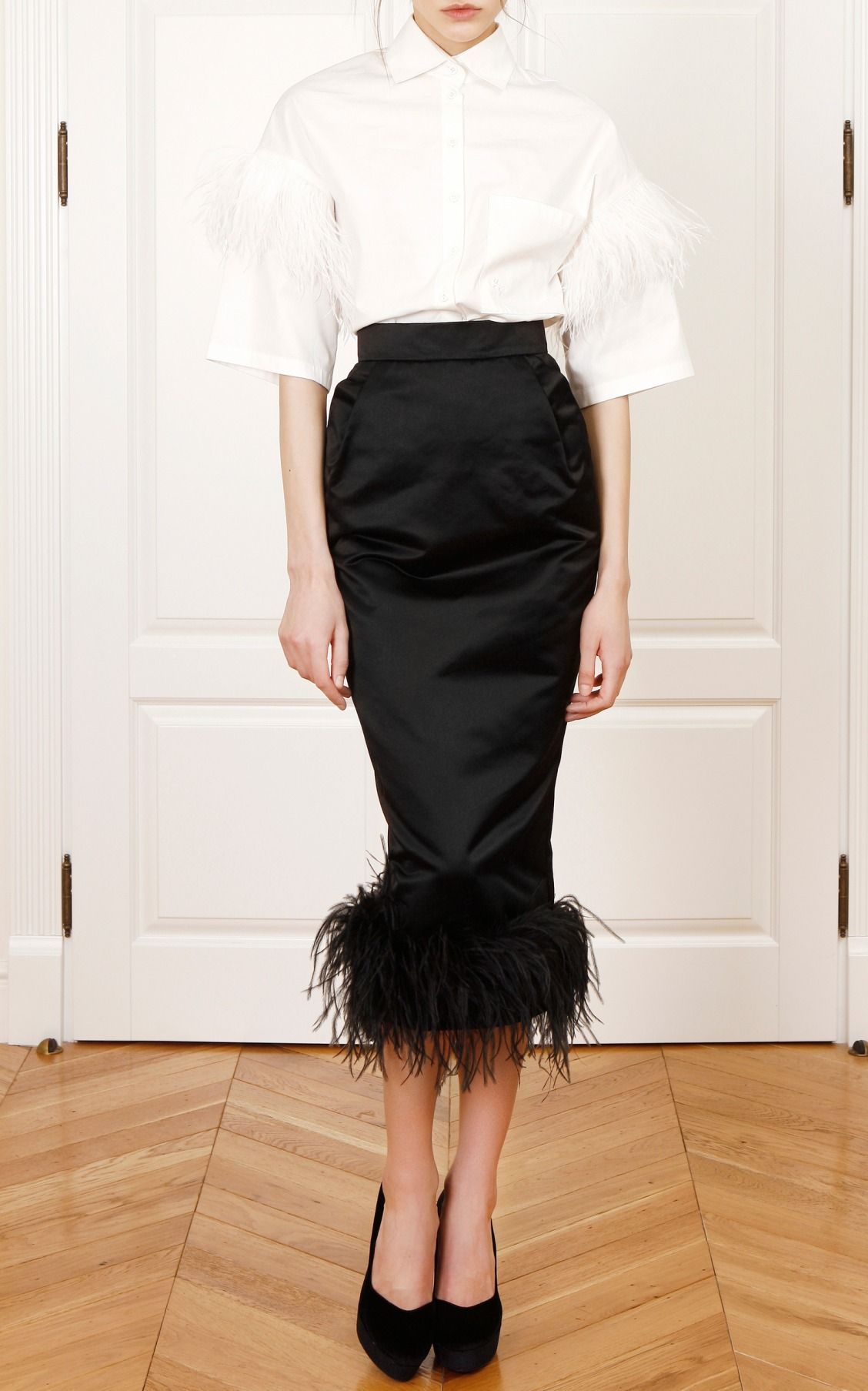 531f07b64a01ab Feathered hem pencil skirt by Yanina Demi Couture