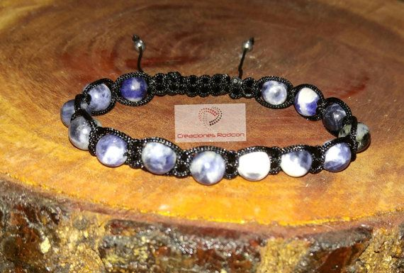 MENS ADJUSTABLE BRACELET Black Cord and Sodalite Beads by RodconPR