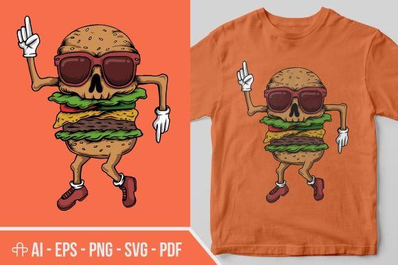 Skull Burger Dance Illustration