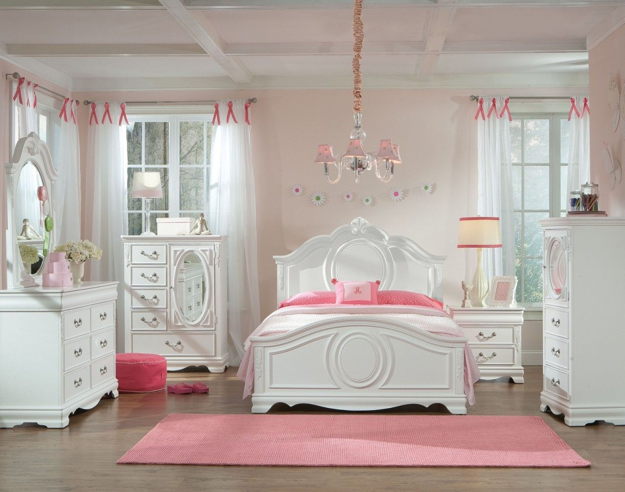 Standard Furniture Jessica Youth Panel Bedroom Set In White Paint - Girls-bedroom-sets-painting