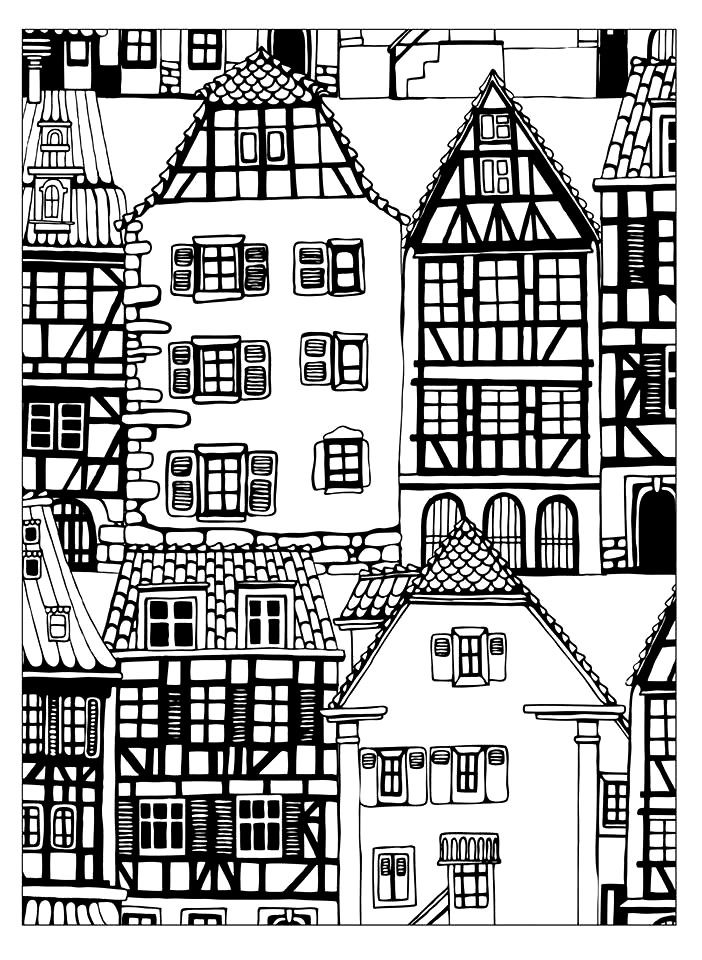 Coloriage Maisons Style Alsace Dans La Galerie Architecture