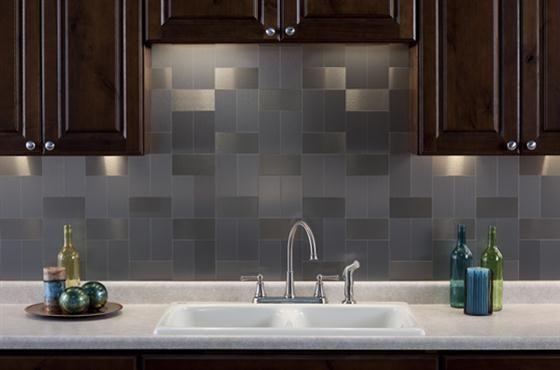 Awesome Metal Tiles For Kitchen Backsplash Dengan Gambar