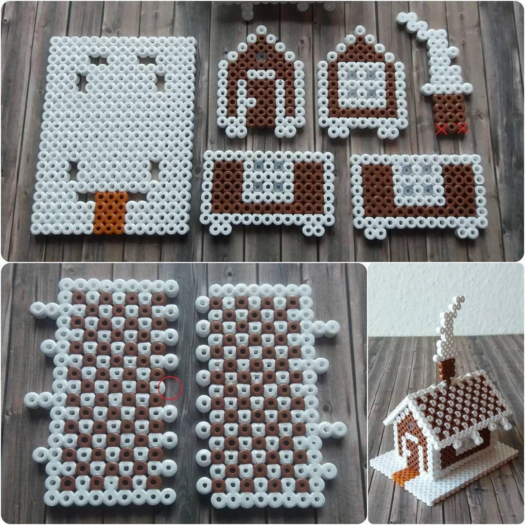 Tiny Gingerbread House Perler Hama Beads