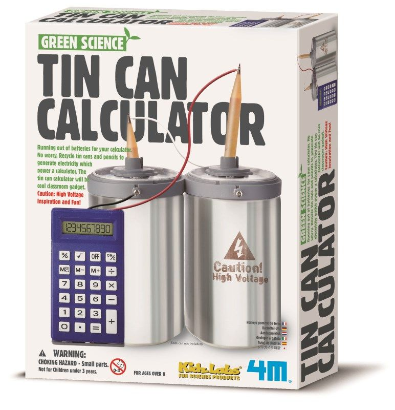 A great classroom teaching tool! This Tin Can Calculator helps teach Green Science. Batteries low on your calculator? No problem! Recycle tin cans and pencils to generate electricity and power a calculator.