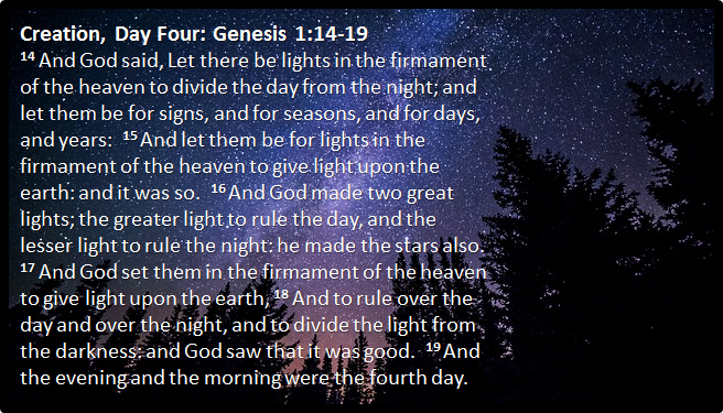 Creation Day Four | Genesis 1:14-19 | Lights to divide the day and night  and to be for signs and seasons, and for days and … | Creation days,  Greater light, Genesis