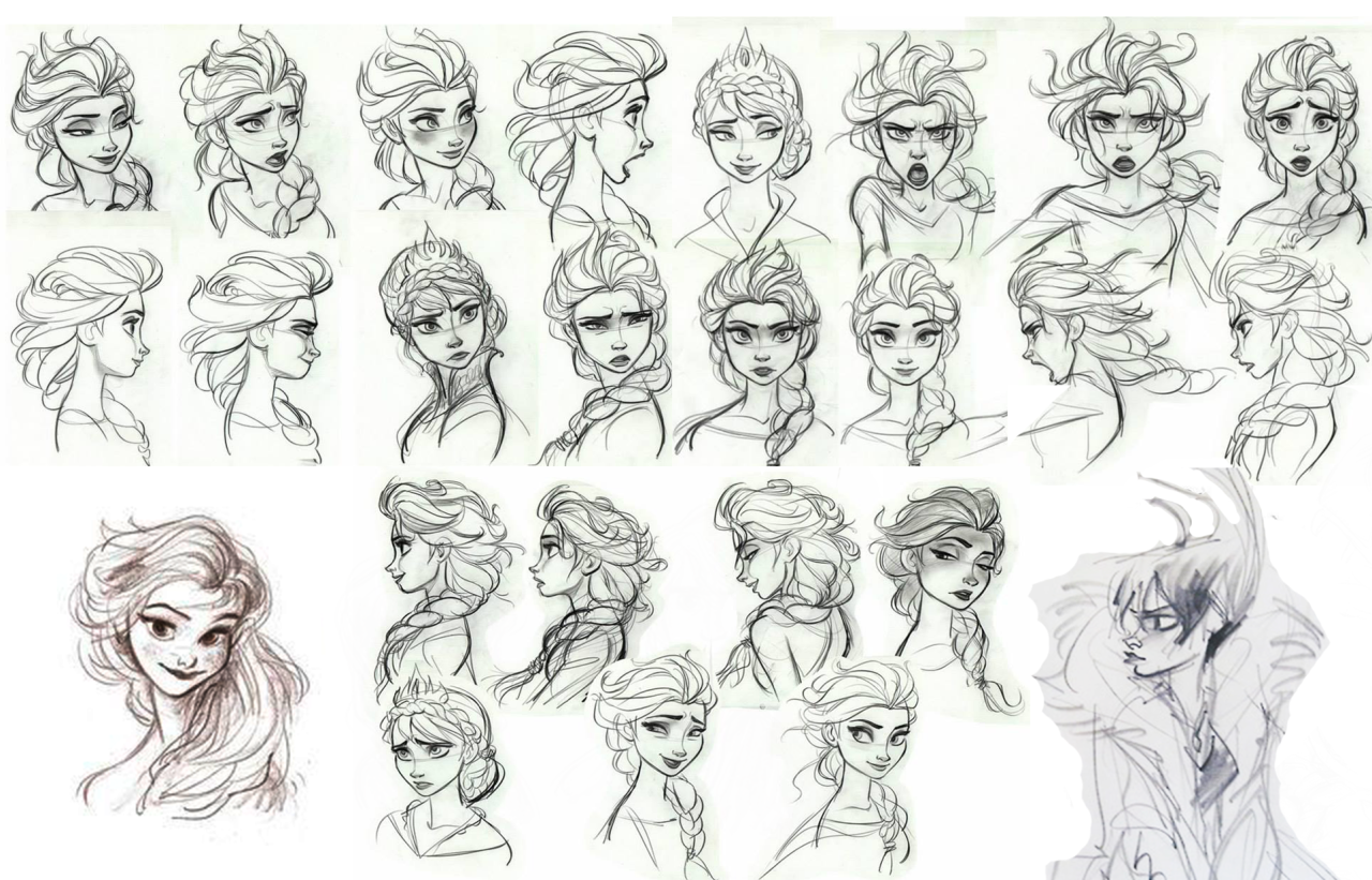 Disney Character Concept Design : Elsa from start to finish early frozen concept art of