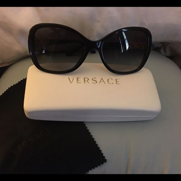 c3537801b38e7 Black Versace Sunglasses Black butterfly shades. Small Swarovski crystals  on arms (2 missing on